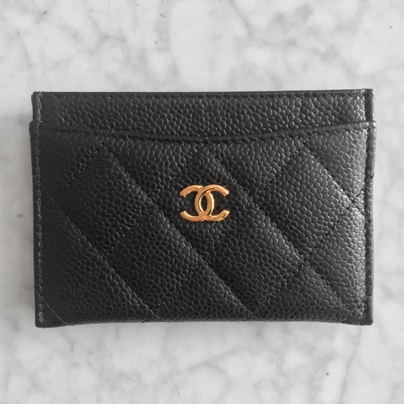 CHANEL Handbags - Chanel Black Quilted Caviar Leather CC Card Holder